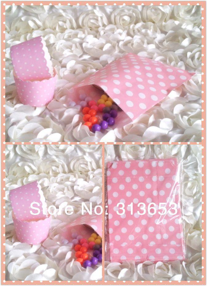 Горошек 50 шт. розовый цвет кекс лайнера/торт wrapps с 50 шт. анти-нефть мешок конфеты для свадьба-бесплатная доставка