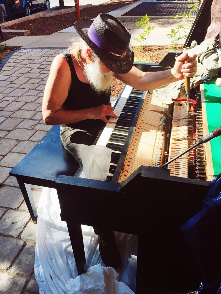 Getting Traverse City's new street piano all tuned up before the launch event Thursday, July 21st from 6-8 at the corner of Park and Front street!