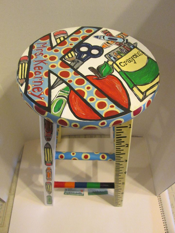 "Fun ""school themed"" hand painted wooden stool, designed for a 3rd grade teacher and her classroom! View #3  https://www.facebook.com/buggybeandesigns"