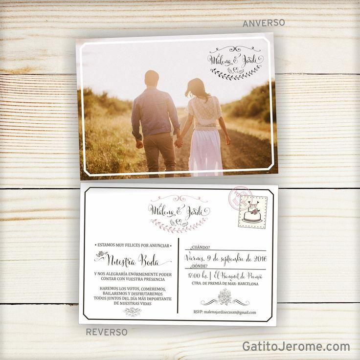 Image of Invitación BODA Postal Vintage