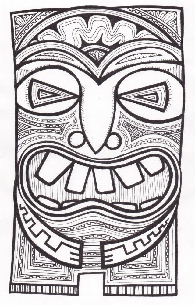 Tiki Mask Template - Cliparts.