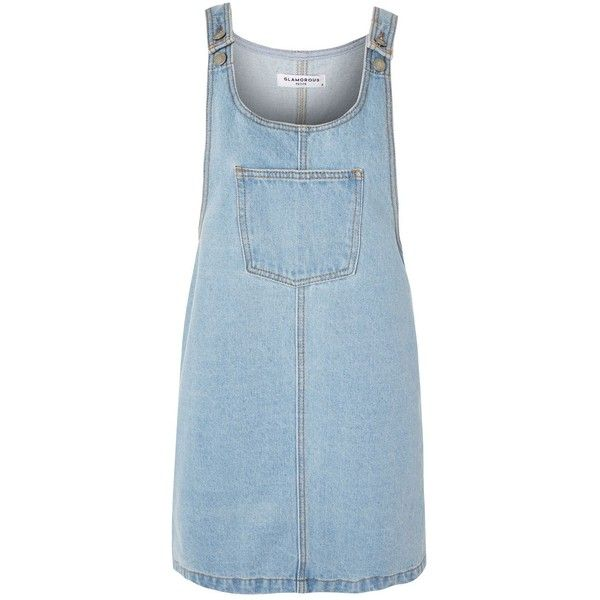 Denim Pinafore Dress by Glamorous Petites (60 CAD) ❤ liked on Polyvore featuring dresses, blue, denim dress, pinafore dress, pinny dress, denim pinafore dress and blue pinafore dress