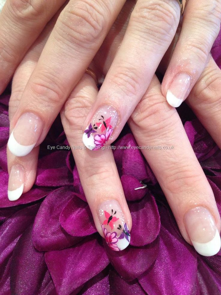 One stroke flowers with freehand butterfly nail art