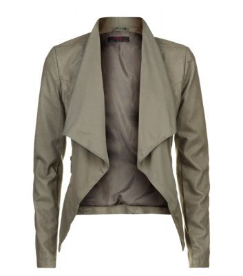 Khaki Jersey Waterfall Leather Look Jacket
