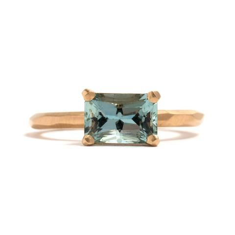 """Radiant Aquamarine Soul Ring, from the exhibition """"Soul Mate"""" by Krista McRae for Pieces of Eight Gallery."""