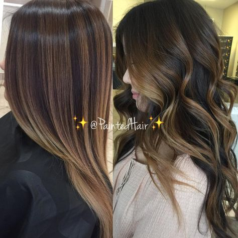 """7,367 Likes, 67 Comments - Patricia Nikole (@paintedhair) on Instagram: """"✨Chocolate and Light Almond toned brunette ✨Painted Hair✨Side by side straight and curled. ✨…"""""""