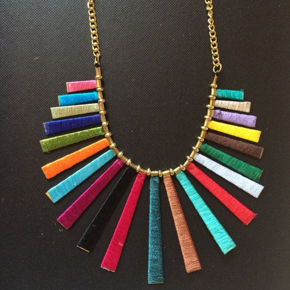 Multicolor Fringe NecklaceTassel by taneesijewelry on Etsy