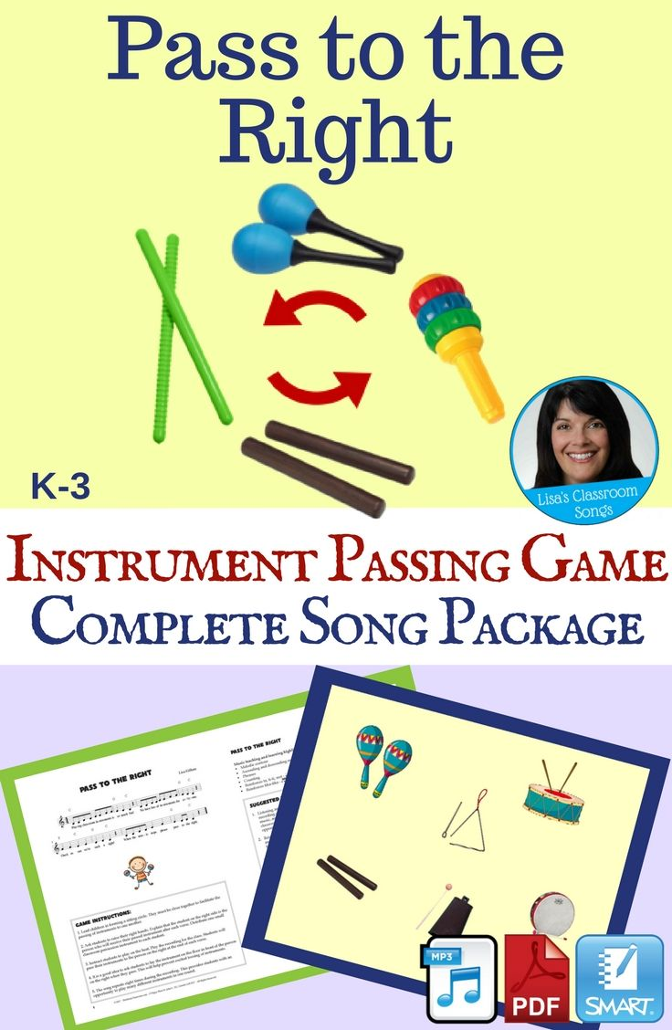 "Students will play classroom instruments as they sing the song. On the words, ""pass to the right"", they lay their instrument on the floor in front of the person sitting next to them. Everyone picks up their new instrument, and the game continues. The verse is repeated multiple time to facilitate game play. Song Length: 2:21 This package includes a PDF with sheet music and lesson ideas, a recording with vocals, an accompaniment track, a SMART Notebook file and a demonstration video."