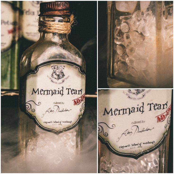 DYI Harry Potter Potions for Halloween: Mermaid Tears in Vintage Flavoring bottle - Scrapbook.com