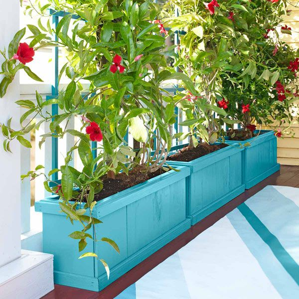 DIY Planter Box and Trellis ny lowescreativeideas: Create a green privacy screen from flowering plants or vegetables. Perfect for the deck, maybe the kitchen windows too.