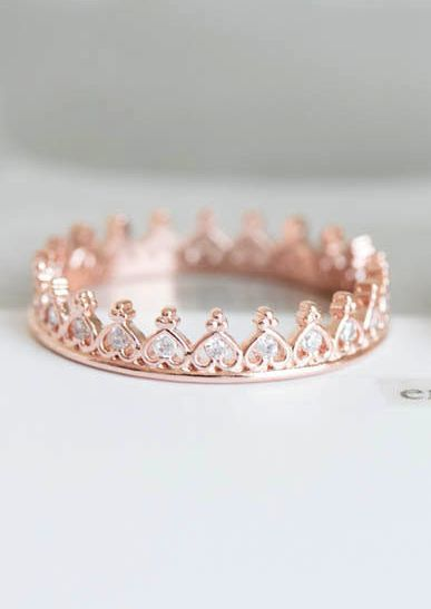 Stacking heart crown ring - would make a great purity ring.