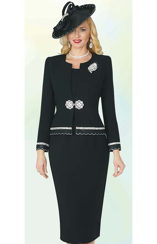 Lily And Taylor 4272 French Crepe Fabric Skirt Suit With Rhinestones Womens Dress Suits Black Suit Dress Long Skirts For Women