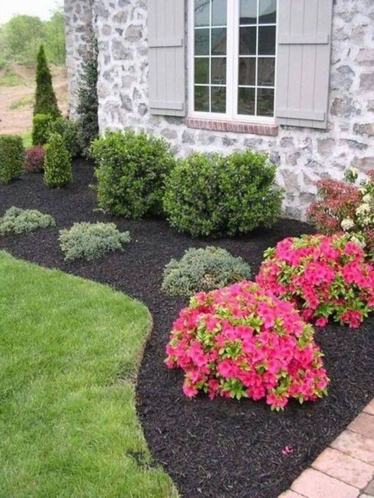26 beautiful flower beds in front of house design ideas