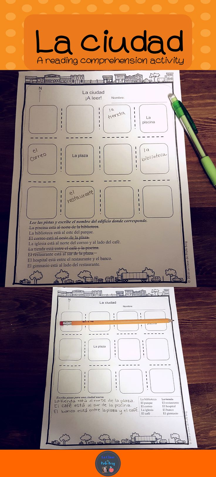 Students will use clues that have prepositional phrases to locate the places in the city. Click here to see more about this easy to use activity. #laciudad #lugaresdelaciudad #preposicionesposicionales