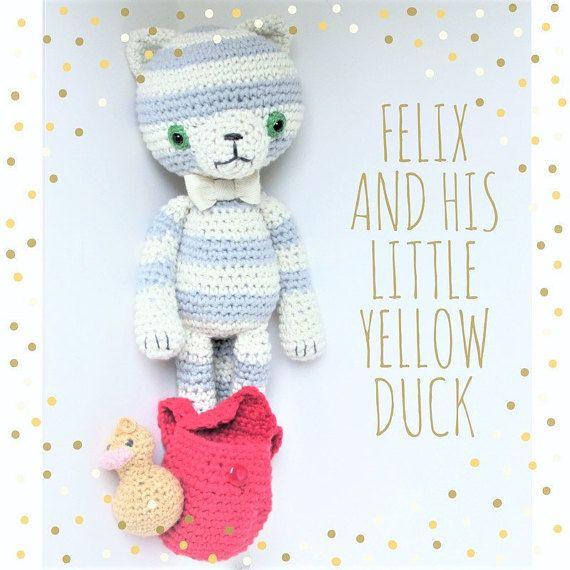 Felix and his little yellow duck amigurumi cotton doll