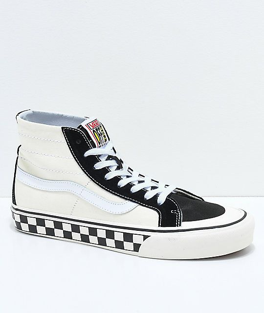 421cd8fed123 Vans Sk8-Hi 138 Decon SF Black   White Checkered Skate Shoes in 2019 ...
