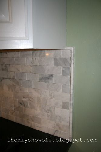 DIY Show Off Kitchen Makeover - how to finish of a backsplash edge