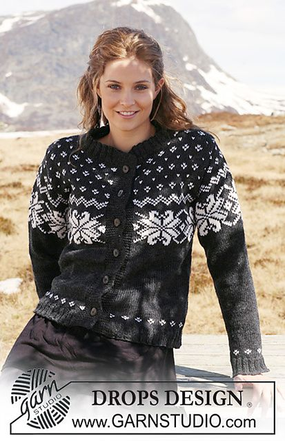 "Ravelry: 116-11 Jacket with Norwegian pattern in ""Karisma"" pattern by DROPS design"
