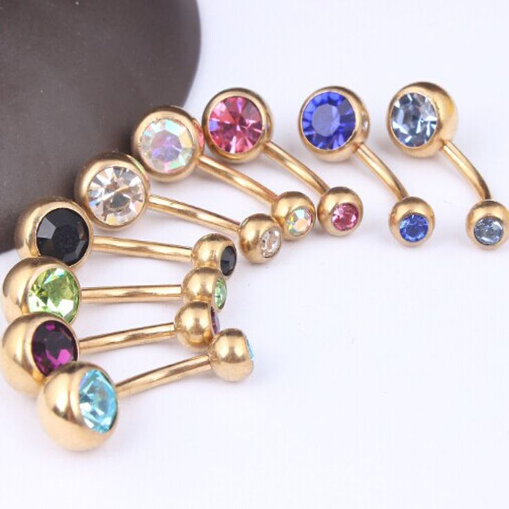 B12 wholesale 9pcs/lot mix color  double crystal Gold navel bar  body jewelry belly button ring belly piercing