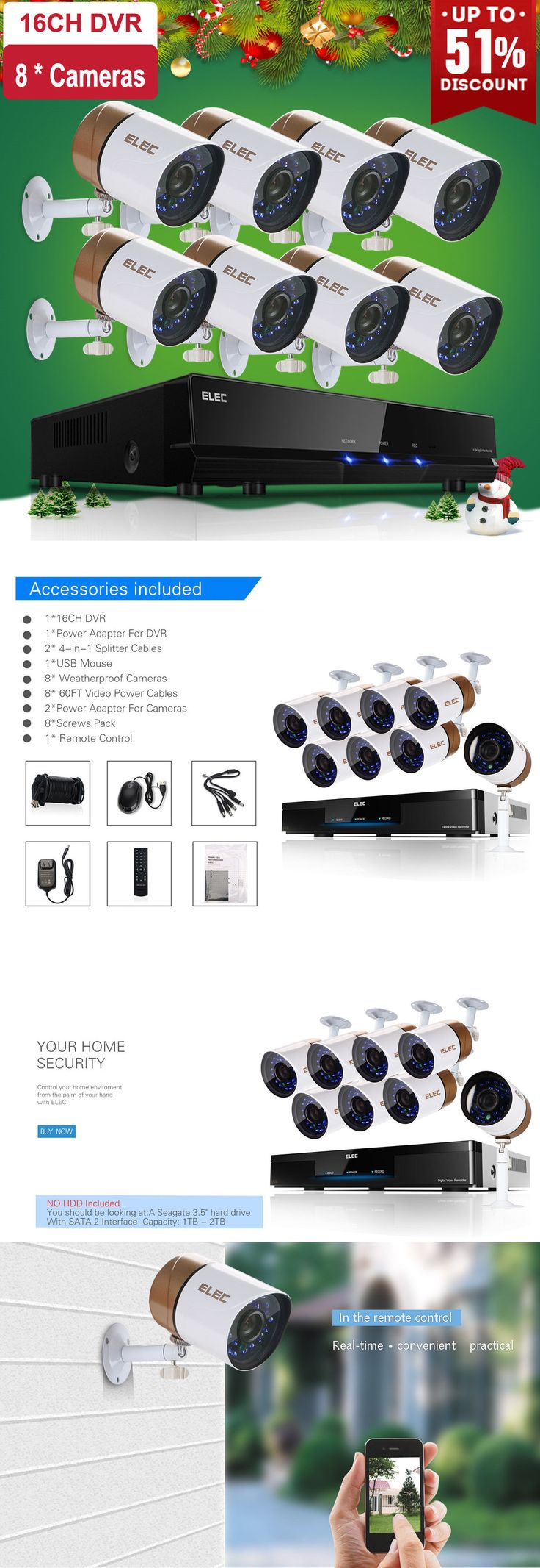 Surveillance Security Systems: Elec 16Ch 1500Tvl 960H Hdmi Dvr Cctv Ir-Cut Outdoor Home Security Camera System -> BUY IT NOW ONLY: $219.99 on eBay!