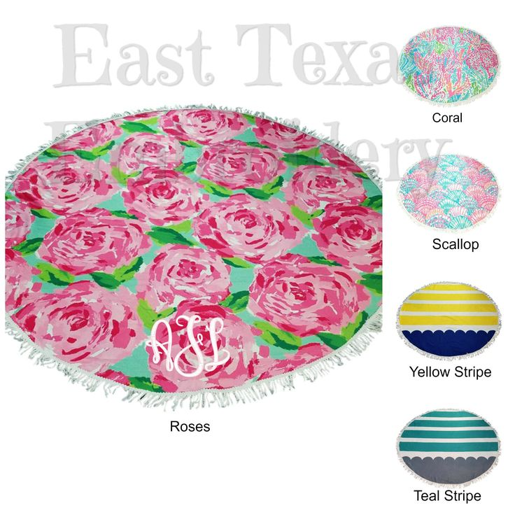 Round Beach Towel Personalized - Embroidered Round Towel - Monogrammed Round Beach Towel - Large Picnic Blanket - Personalized Gifts by EastTexasEmbroidery on Etsy https://www.etsy.com/listing/546071779/round-beach-towel-personalized