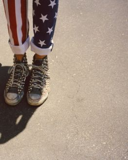 Patriotic Pants; American Flag Jeans, Rolled Up Cuff, Studded Converse Sneakers. #grunge