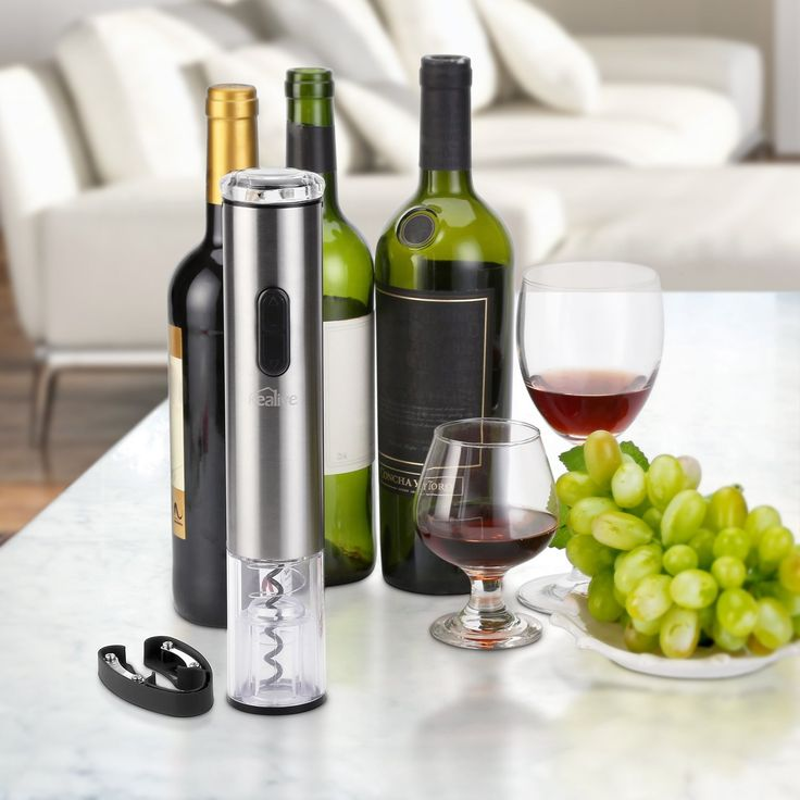 Amazon.com: Kealive Electric Wine Bottle Opener with Foil Cutter, Battery Powered, Metallic Finish, Silver: Kitchen & Dining