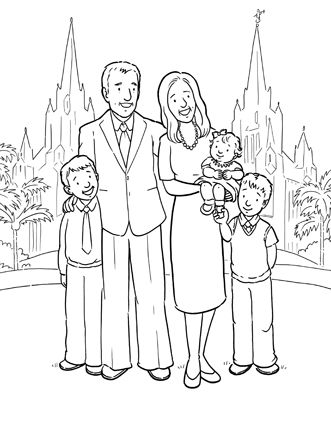 Temple family coloring page