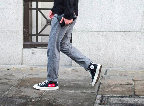 Warm trousers and comfortable sneakers.