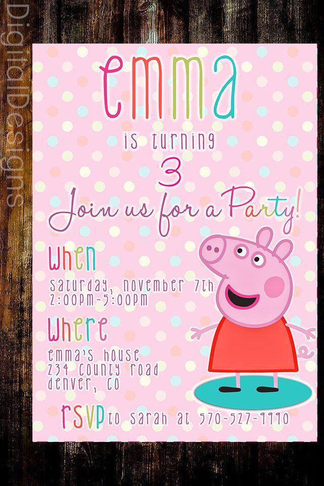 Peppa Pig Birthday Invite, Birthday Invite,  PRINTABLE by DigitalDesigns3 on Etsy https://www.etsy.com/listing/250628606/peppa-pig-birthday-invite-birthday