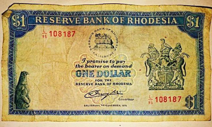 Rhodesian $1 note//Le Zimbabwe-Rhodésie était le nom officiel du Zimbabwe entre le 1ᵉʳ juin et le 12 décembre 1979. Wikipédia