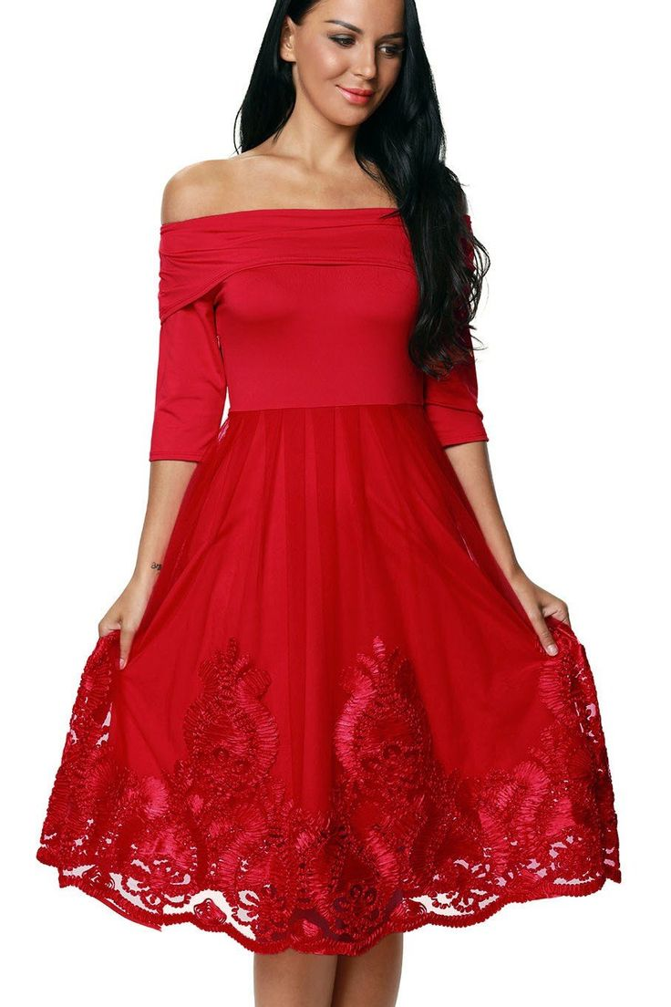Robe de Patinage Rouge Chaud De dentelle Broderie Tulle Jupe Pas Cher www.modebuy.com @Modebuy #Modebuy #Rouge #mode #Rouge #style