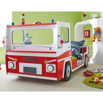 Lit enfant pompier Longueur 190/200 x Largeur 90cm Rouge / Blanc BOGOTA