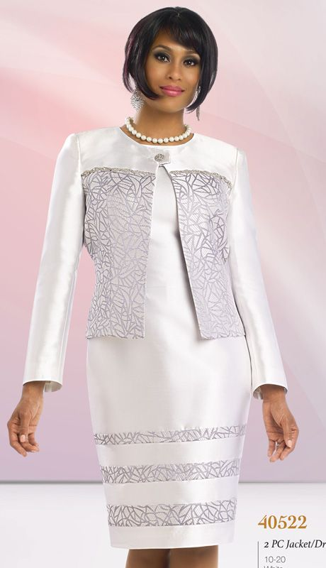 2pc Shantung With Brocade Suit, Church Attire By Chancelle