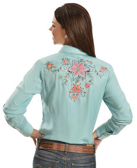 Wrangler Embroidered Scalloped Yokes Western Shirt