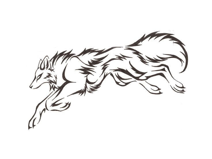 Line Art Wolf Tattoo: Wolf Outline Drawing - Cliparts.co