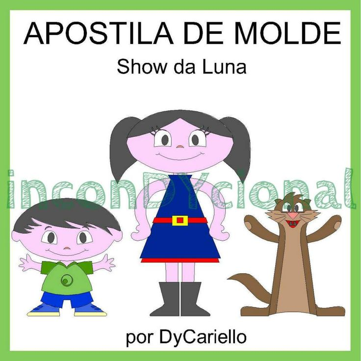>> Apostila digital com molde da turma do Show da Luna [Conforme imagem], para ser feito em feltro/tecido.  >> Sem PAP. Apenas o molde.  >> Bonecos em 2D.    >> A apostila tem 1,54mb, formato PDF, 13 páginas. https://www.facebook.com/inconDYcional/photos/a.811942578856722.1073741827.187805041270482/906330562751256/?type=3&theater