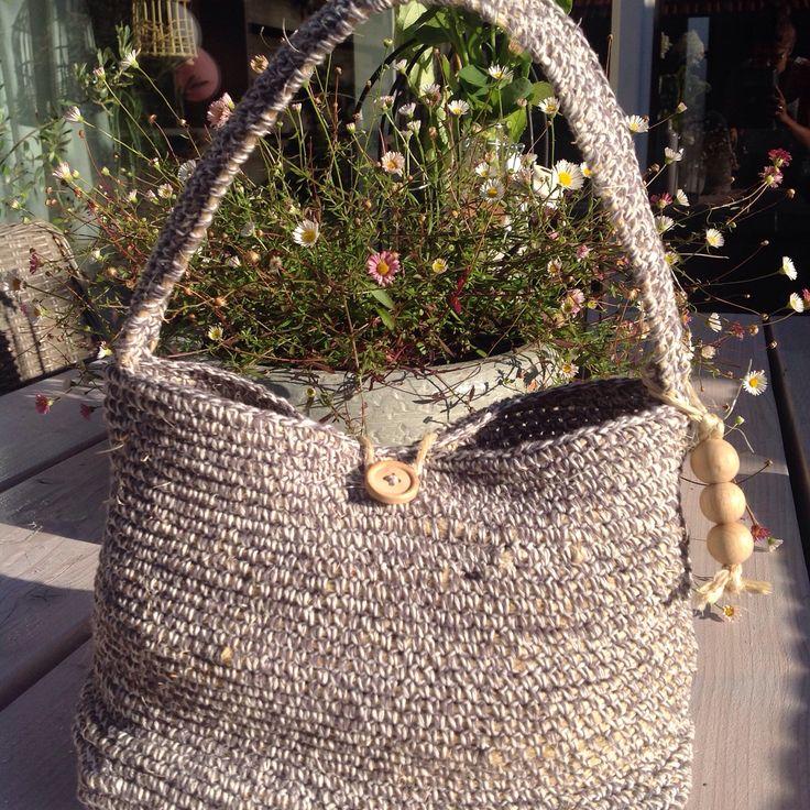 Tas 'al la Mel'  #eigen ontwerp!  #touw #houten #knoop #hangertje met houten #kralen