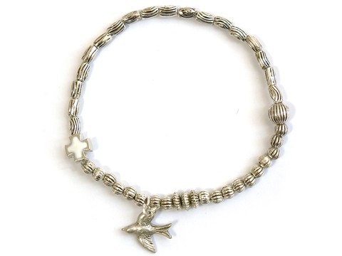 Metal Stretch Elastic Bracelet with Bird charm, bridemaid bracelet