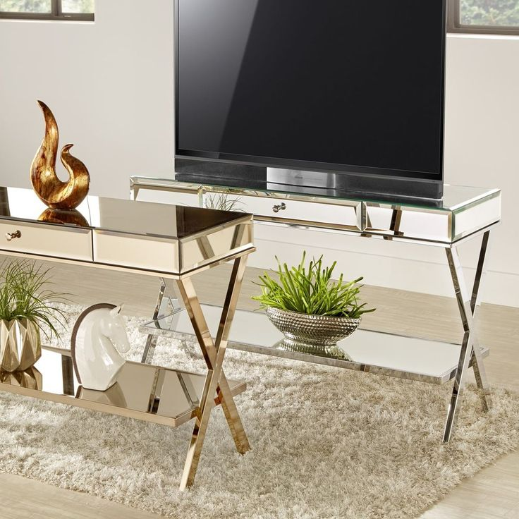 Omni X-Base Mirrored TV Stand with Drawer by iNSPIRE Q Bold #iNSPIREQ #EntertainmentCenters