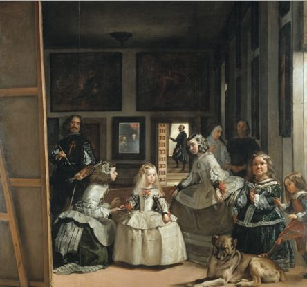 Painting by Diego Rodríguez de Silva y Velázquez (1599-1660), 1656, Las Meninas (or The Family of Philip IV, oil on canvas, Museo Nacional del Prado.