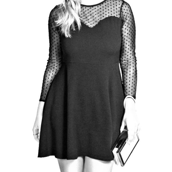 Cute skater dress Cute skater dress with sweet heart neckline and mesh polka dot sleeves Boohoo Dresses
