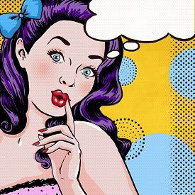 pic of retro - Pop Art illustration of woman with the speech bubble - JPG