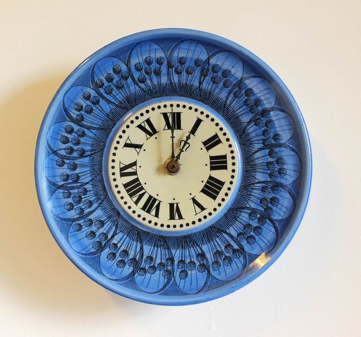 a vintage Marianne Westman blue clock for Rorstrand. 1950 s 60 s Swedish design