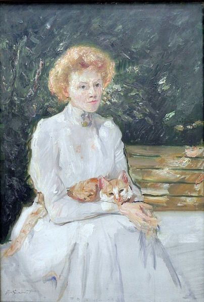 Max Slevogt - Woman with cat, 1902