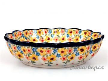 Spring Pattern wavy BOWL 18 cm . This Handmade Polish Pottery bowl is from ELIMAshop.cz  . It was handpainted in Boleslawiec  . Bunzlau . ceramics . stoneware . ( miska vlnitá 18cm )