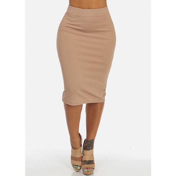 High Waisted Business Skirt (Khaki) ($17) ❤ liked on Polyvore featuring skirts, khaki skirt, high-waist skirt, high rise skirts, high waisted skirts and khaki knee length skirt