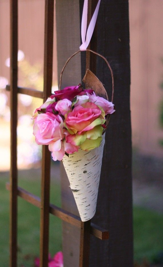 Rustic Birch Bark Flower Holder Cone Decor Shabby Chic Wedding Decor