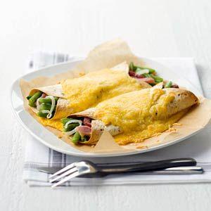 Recept - Wraps met sperziebonen, ham en kaas - Allerhande