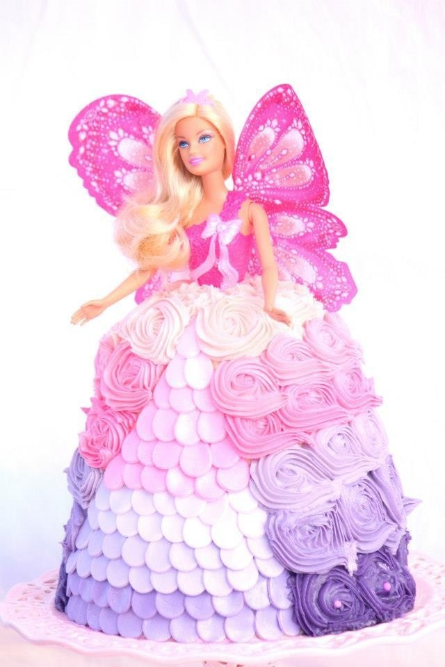 Dolly Varden cake. Pink and purple ombré cake. Rosette cake Barbie cake fairy princess cake